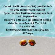 Ontario Public Svc 2017 Summer Employment Opportunities