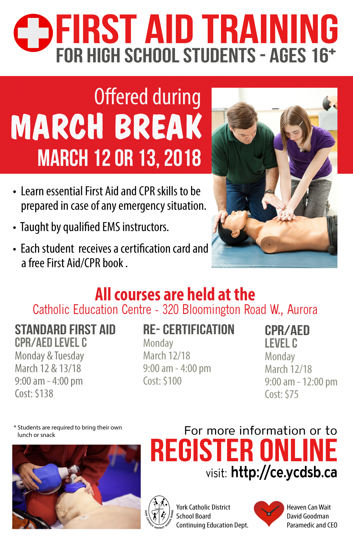 FIRST AID TRAINING for High School Students – ages 16+.