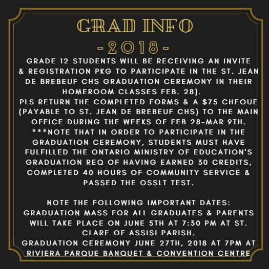 2018 SJDB Graduation Info