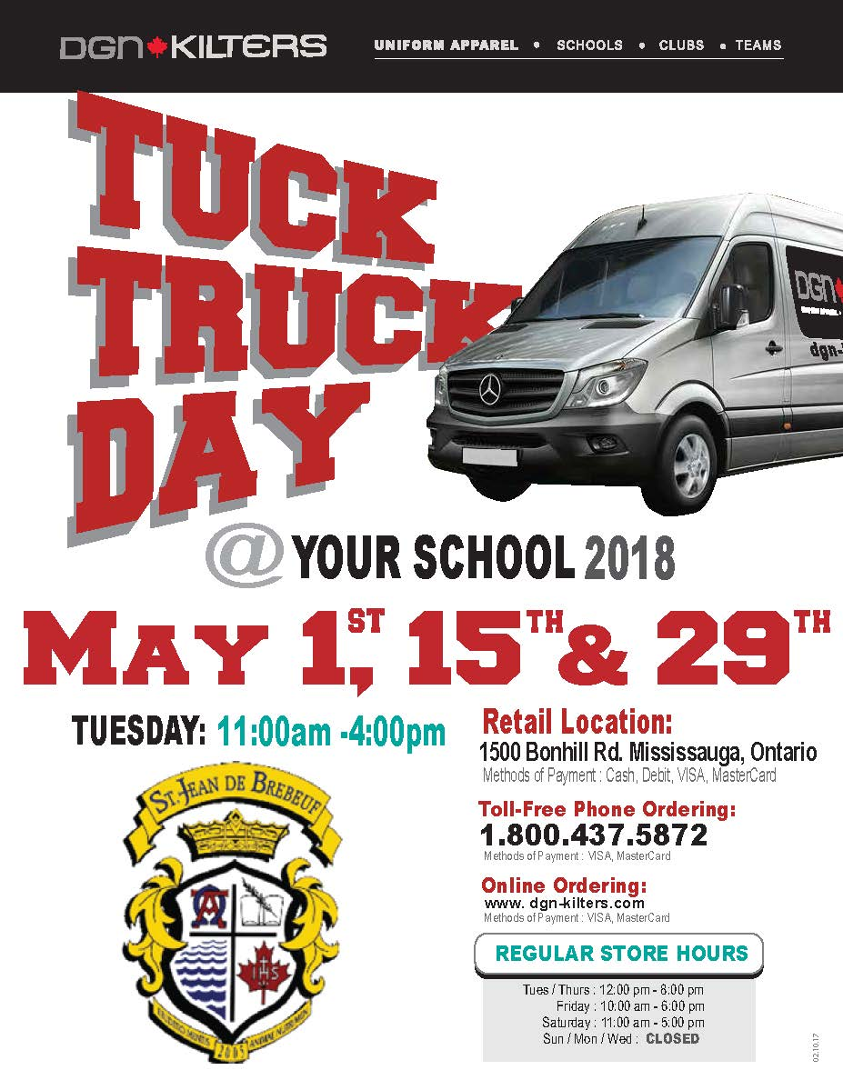 Tuck Truck Day @ SJDB will be May 1, 15 & 29