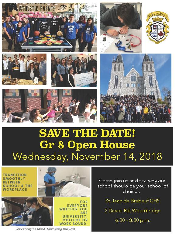 Grade 8 Open House – Nov 14th