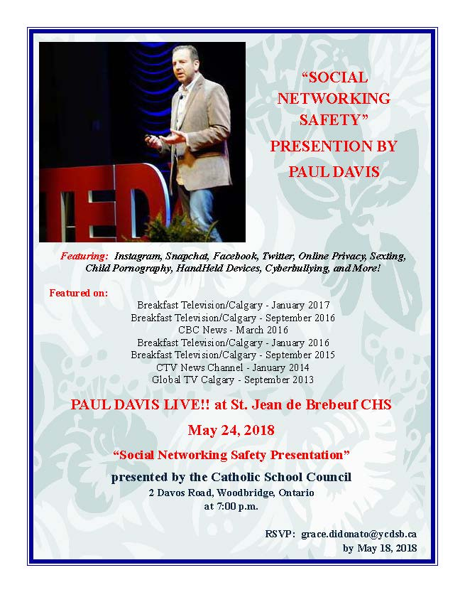 "Paul Davis Live! ""Social Networking Safety Presentation"" – new date May 24th"