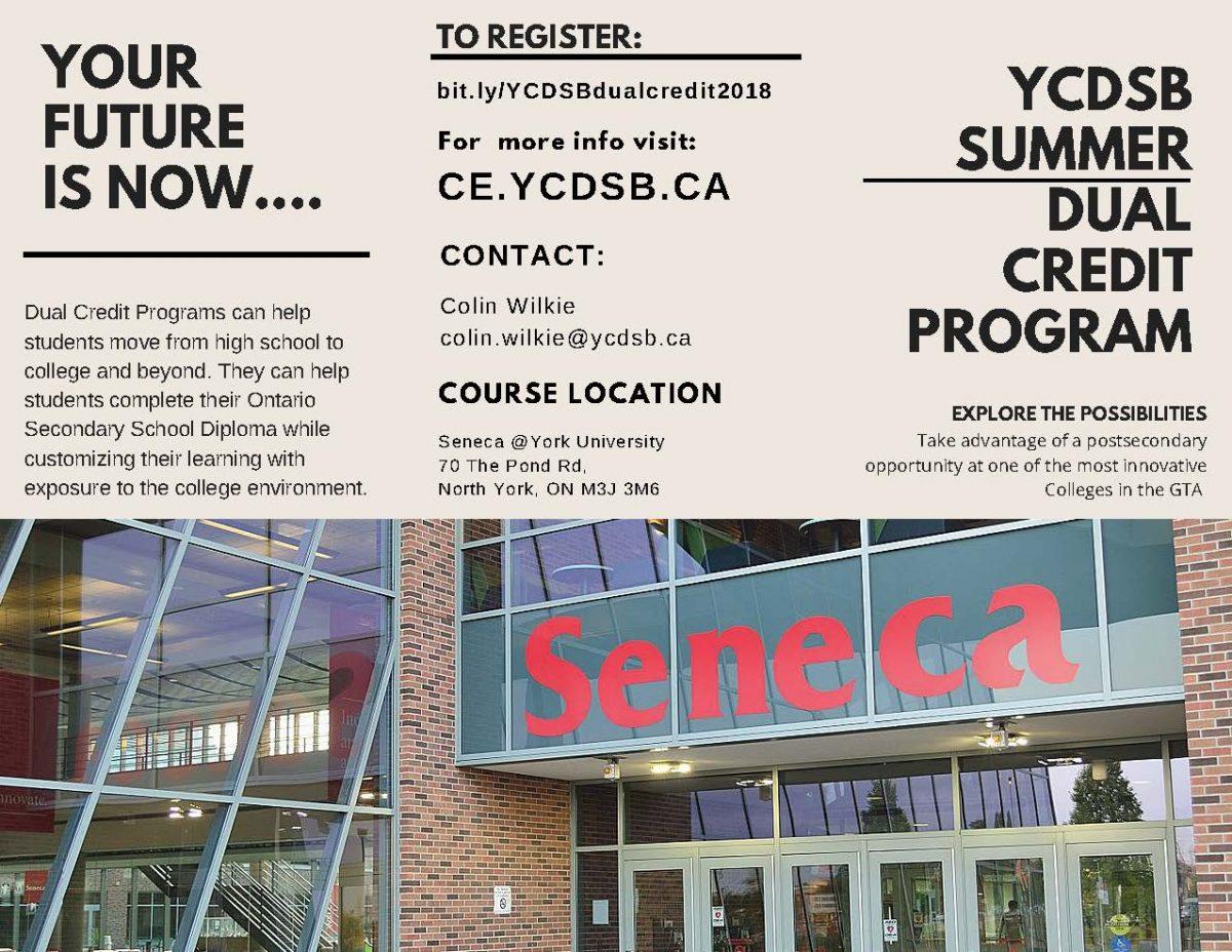 YCDSB SUMMER DUAL CREDIT PROGRAM