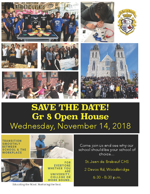 Grade 8 Open House – Nov 14th