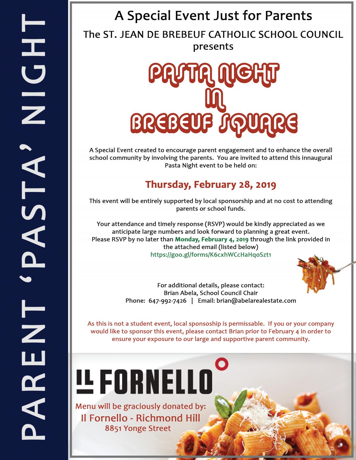 Parent Pasta Night-Thurs Feb 28th