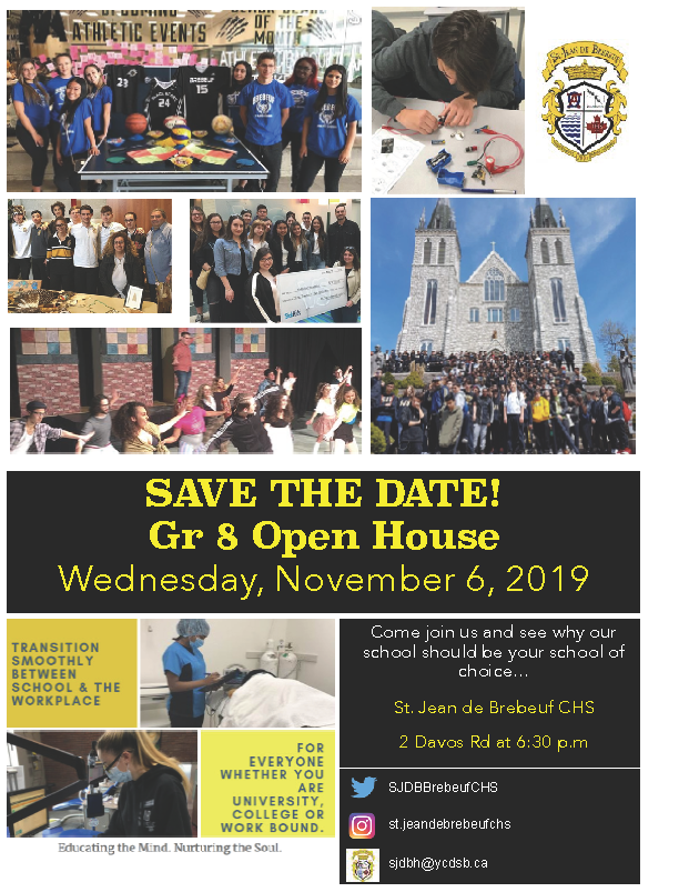 SAVE THE DATE: Gr.8 OPEN HOUSE – Wednesday Nov 6th