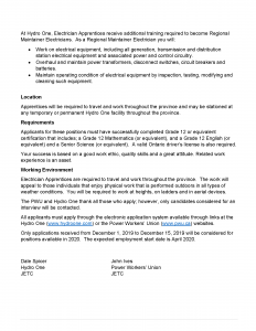 Great Opportunity for Gr 12 apprentice: Hydro One